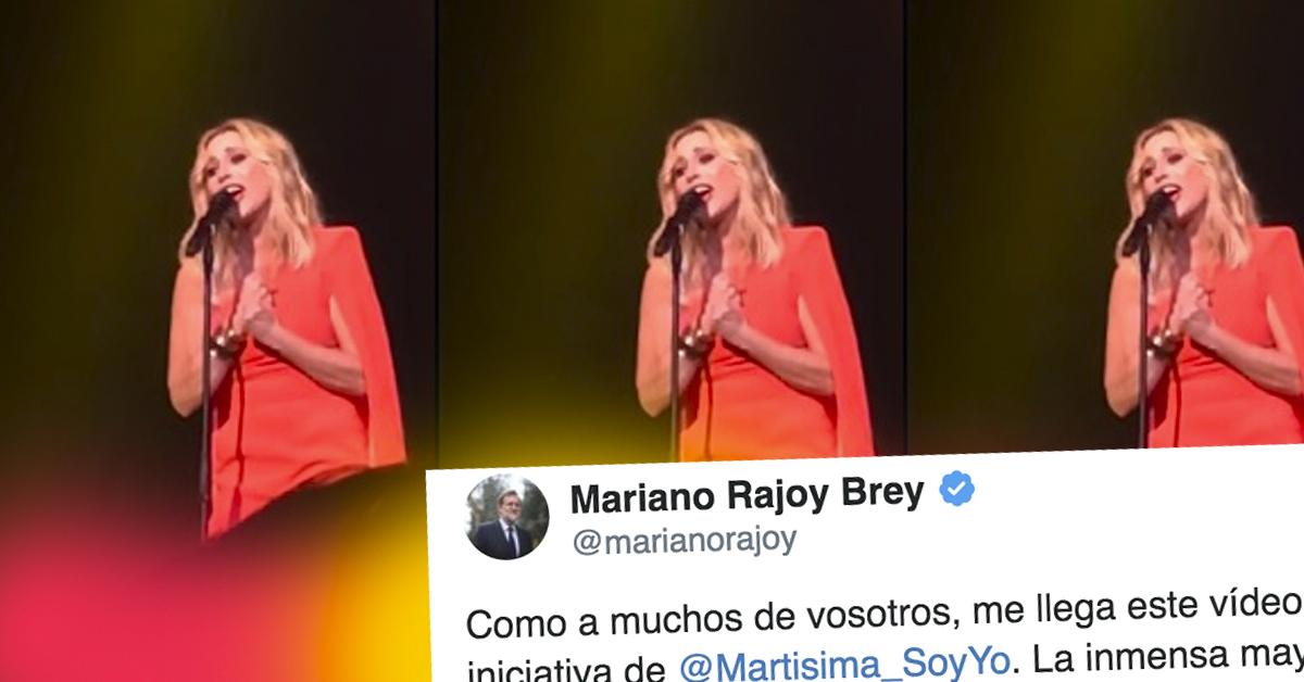 Marta Sánchez le pone letra al himno nacional en un vídeo viral que ha provocado los aplausos de Rajoy