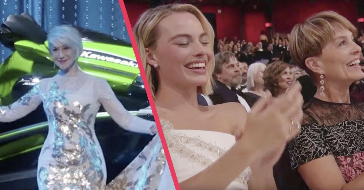 Helen Mirren vestida de Frozen da el premio más surrealista que se ha visto en una gala de los Oscar