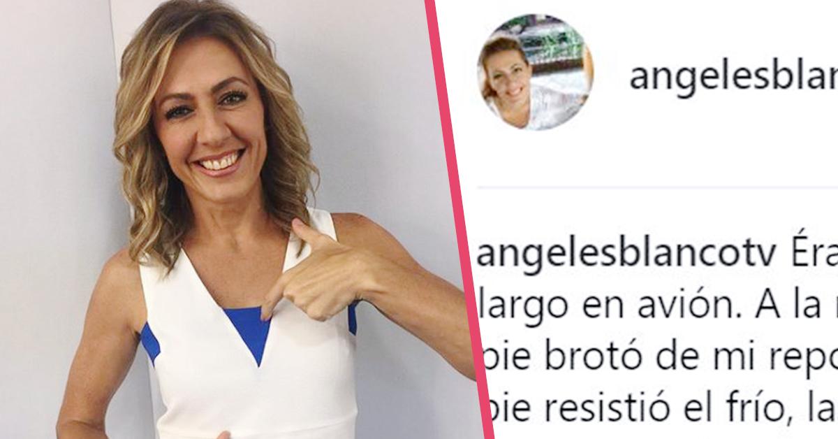 Ángeles Blanco sufre un pequeño «incidente» en el avión que seguramente no desearías que te ocurriera en pleno vuelo